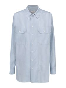 Maison Margiela - Striped cotton shirt in light bue