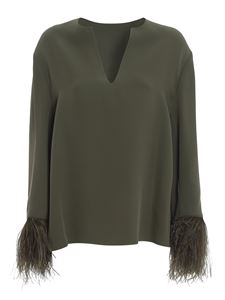 Valentino - Ostrich feather silk blouse in green