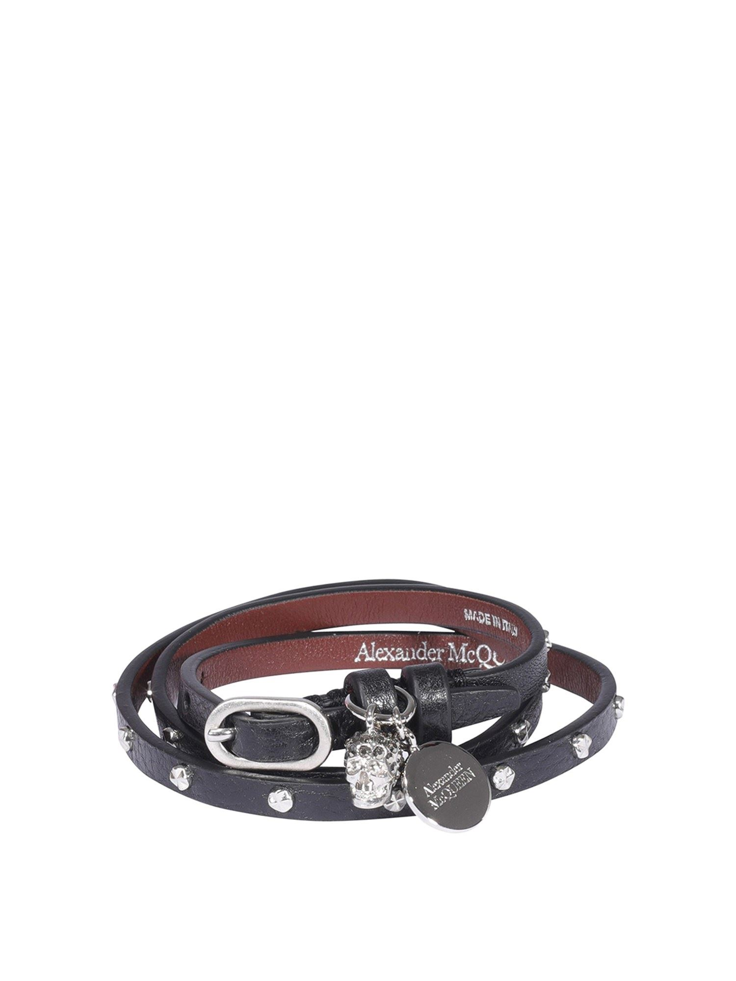 Alexander Mcqueen ALEXANDER MCQUEEN LEATHER WRAPAROUND BRACELET IN BLACK