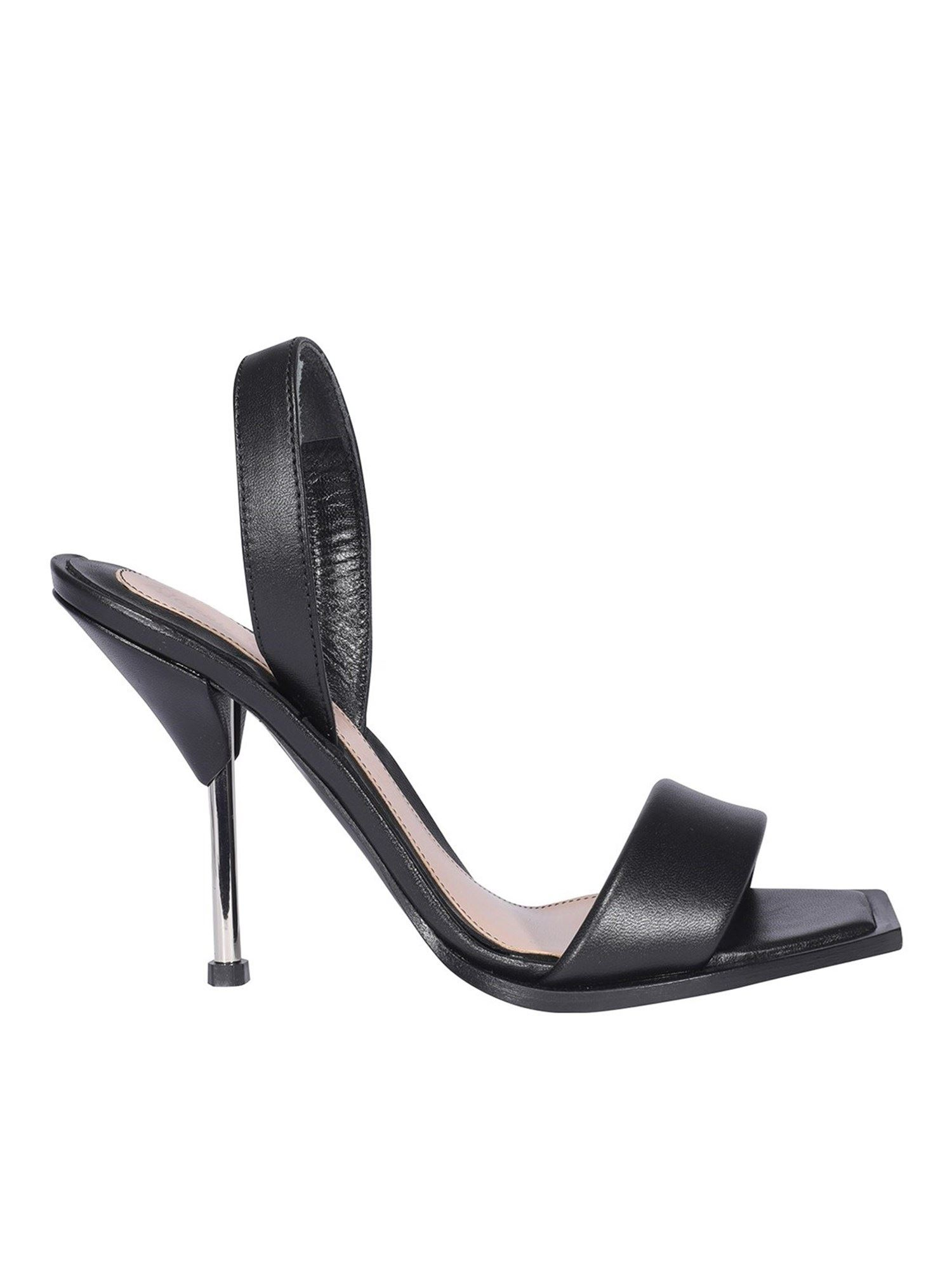 Alexander Mcqueen ALEXANDER MCQUEEN HEELED LEATHER SANDALS IN BLACK