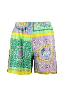 Versace - Print Mix shorts in purple and green