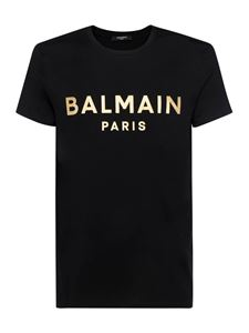 Balmain - Branded T-shirt in black and gold color