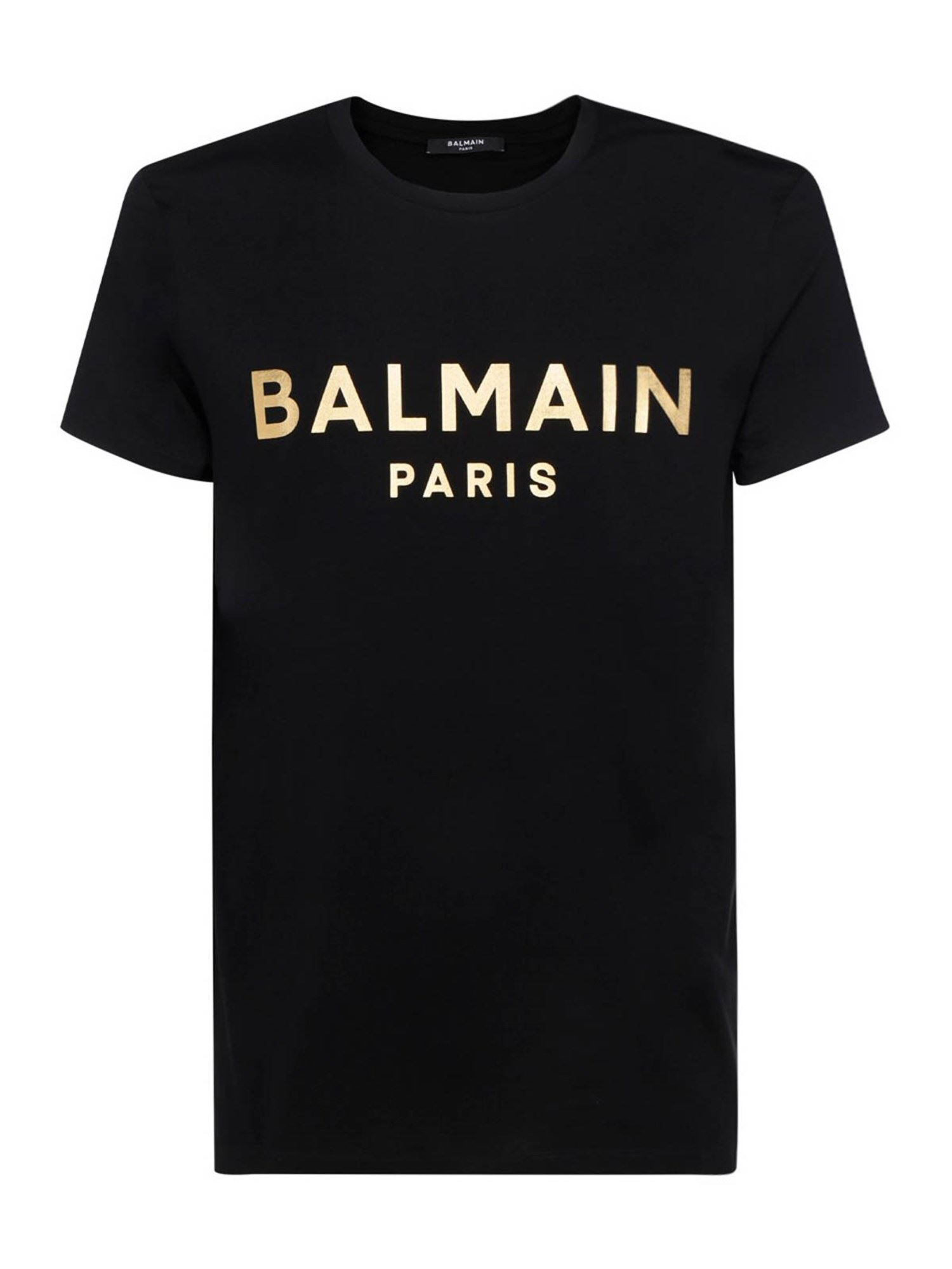 Balmain Cottons BRANDED T-SHIRT IN BLACK AND GOLD COLOR