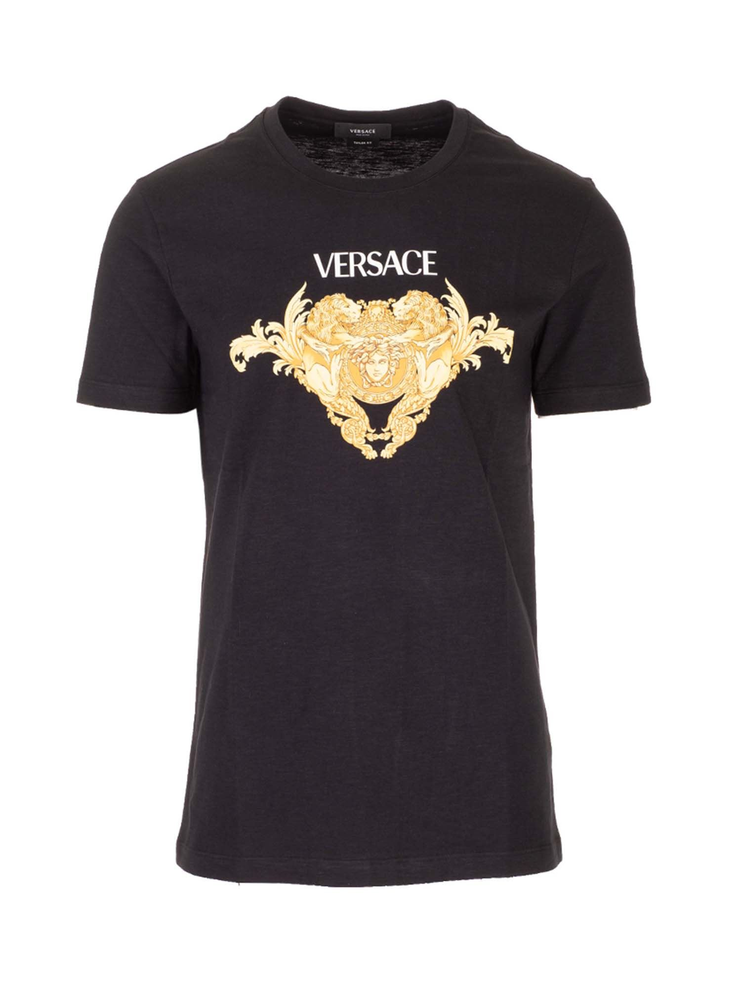 Versace Cottons MEDUSA BAROCCO T-SHIRT IN BLACK