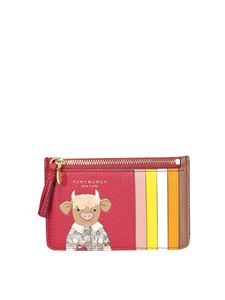 Tory Burch - Portacarte stampa Ozzie The Ox rosso