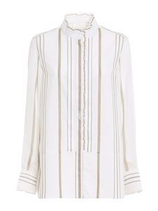 Chloé - Ruffle detail striped shirt in white