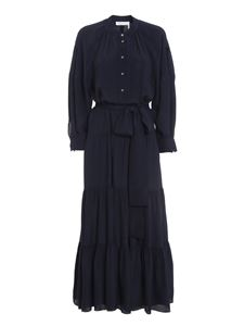 Chloé - Acetate-slik blend  long shirt dress in blue
