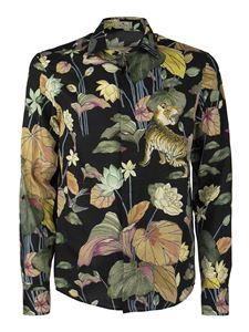 Etro - Tiger water lily print shirt in black
