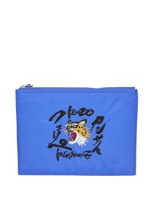 Kenzo - Embroidered clutch in blue