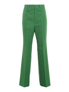 Gucci - Wool blend flared pants in green