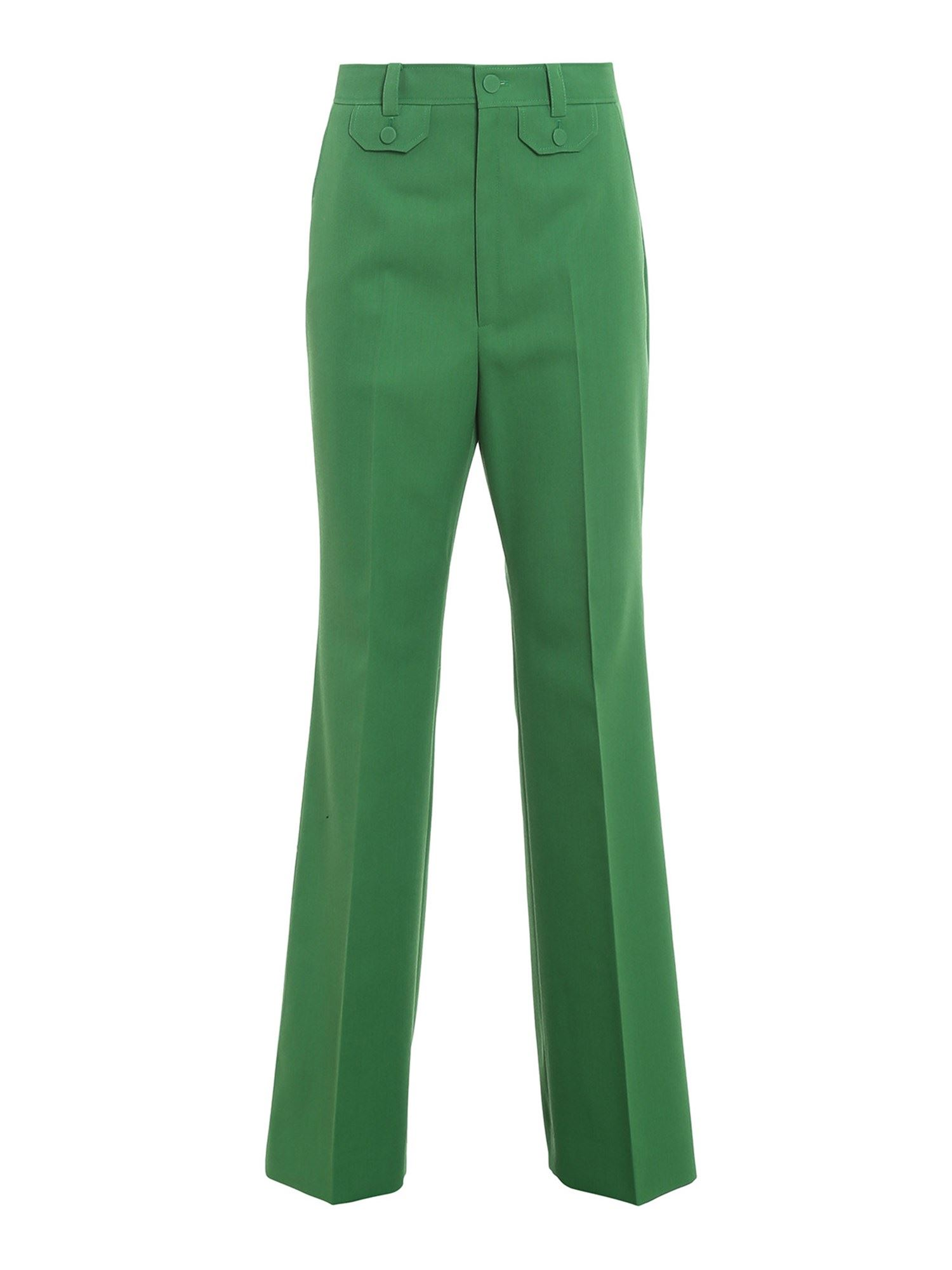 Gucci WOOL BLEND FLARED PANTS IN GREEN