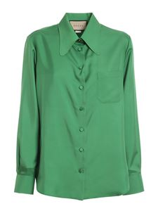 Gucci - Silk twill shirt in green
