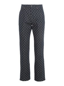 Gucci - Logo print organic cotton jeans in blue