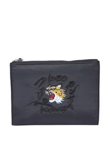 Kenzo - Embroidered clutch in black