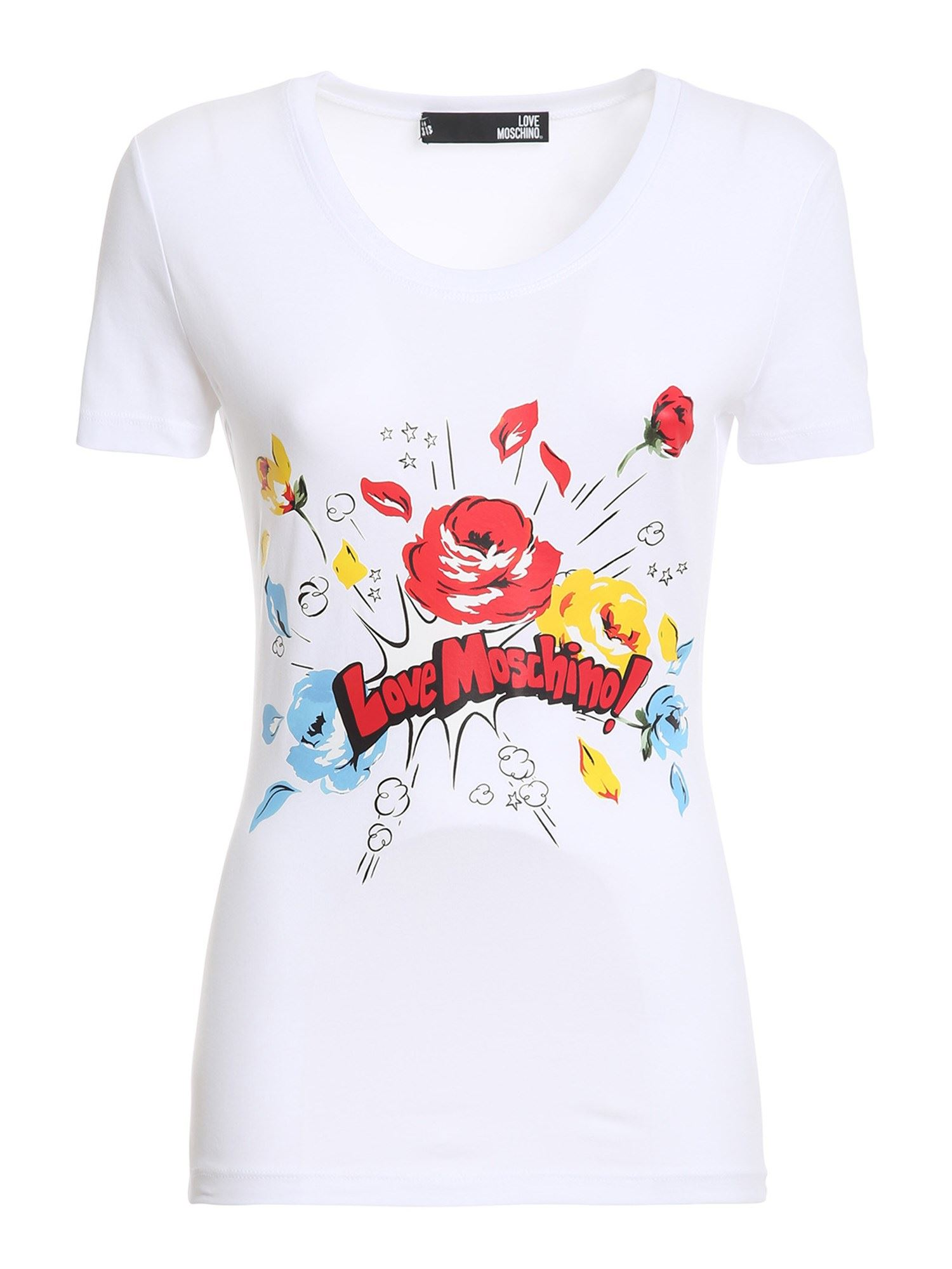 Love Moschino FLOWERS WHITE T-SHIRT
