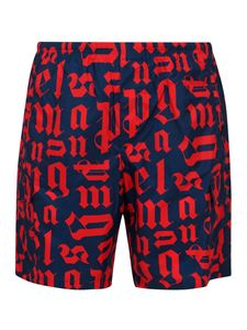 Palm Angels - Branded swim shorts in blue and red
