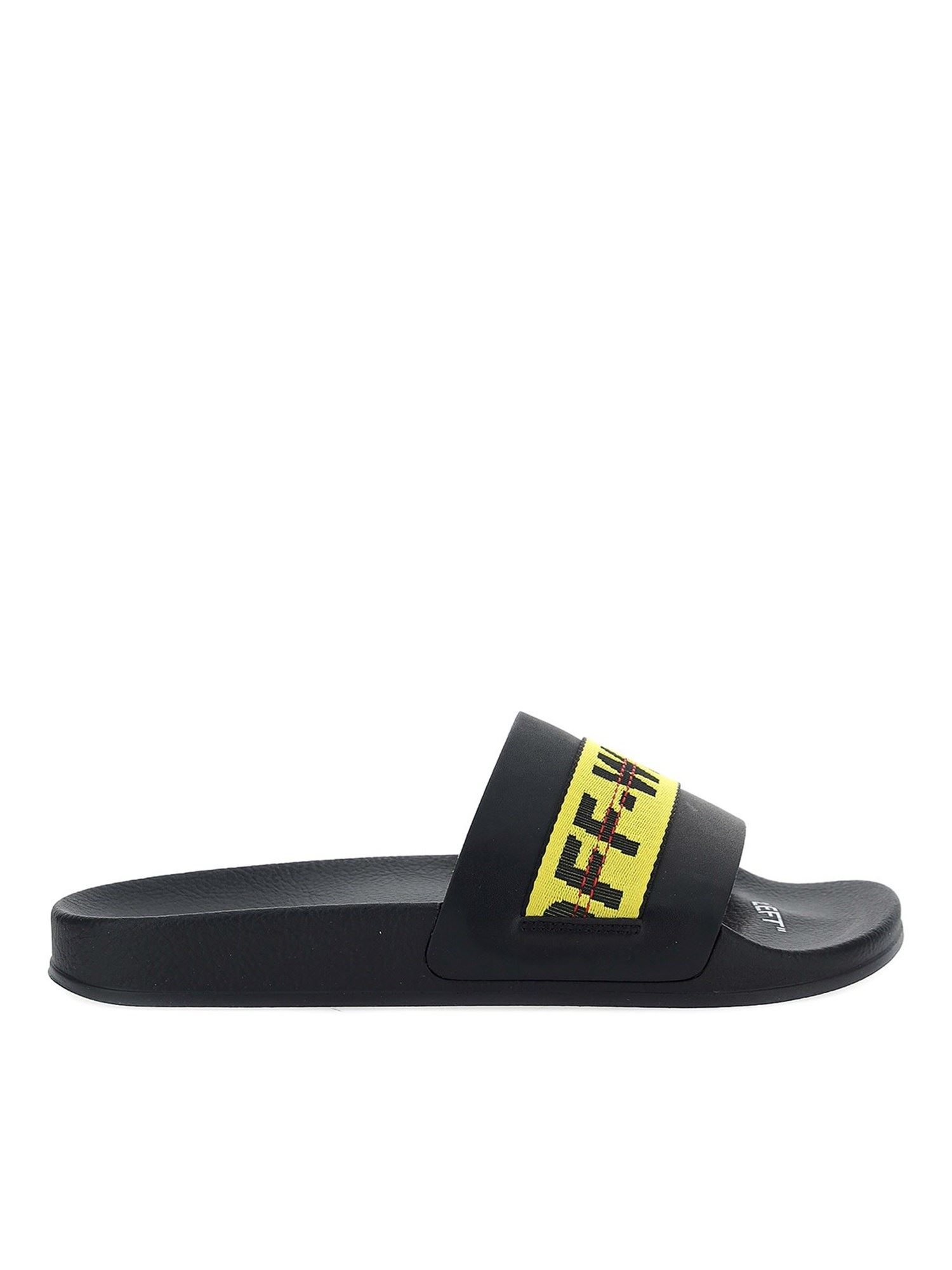 Off-White INDUSTRIAL LOGO SLIDERS IN BLACK