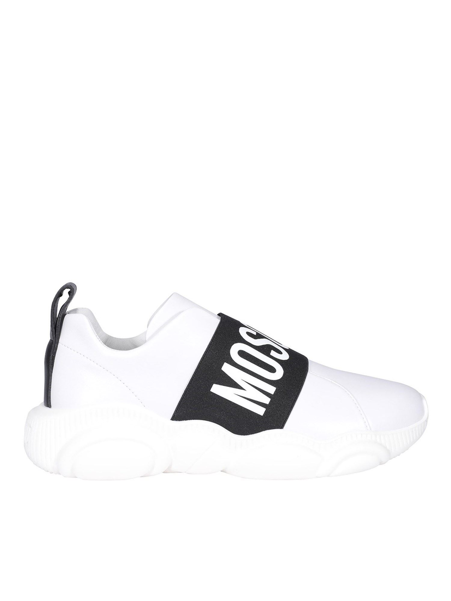 Moschino Leathers CONTRASTING STRIPE WHITE SNEAKERS