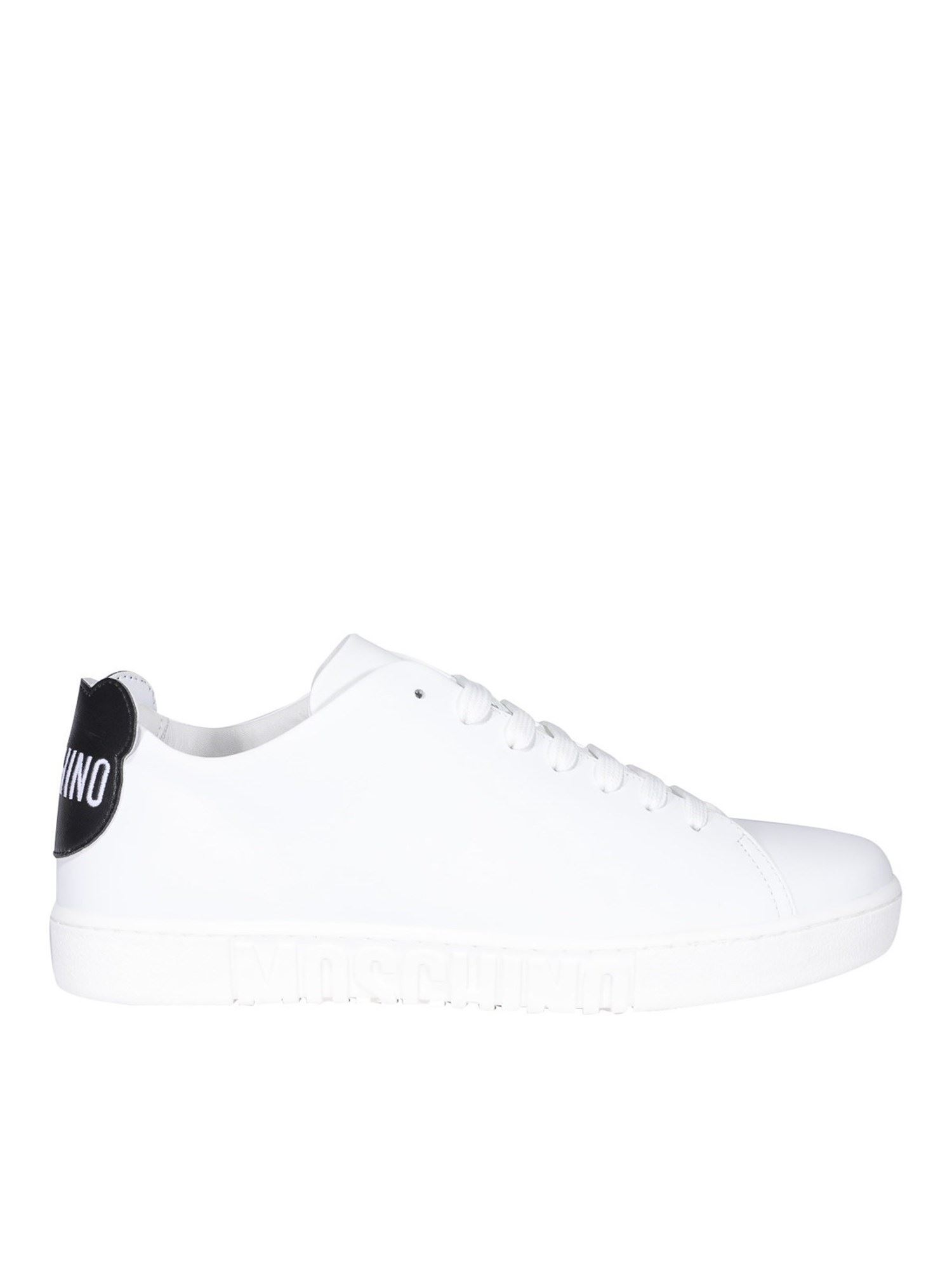 Moschino Leathers WHITE LEATHER SNEAKERS