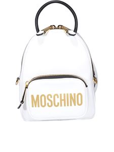Moschino - Logo print backpack in white