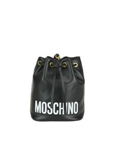 Moschino - Logo lettering black leather bucket bag