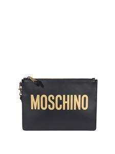Moschino - Gold-tone detail clutch in black