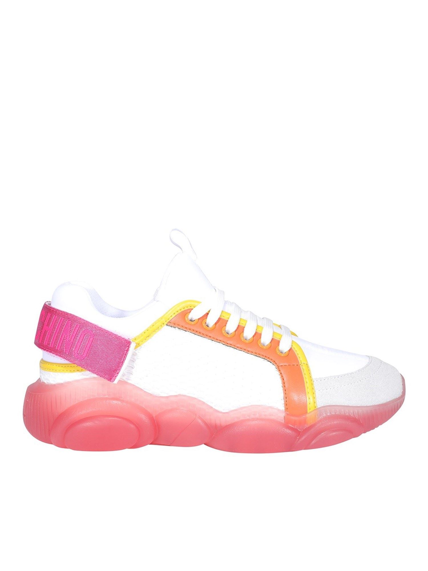 Moschino Leathers TEDDY WHITE AND PINK SNEAKERS