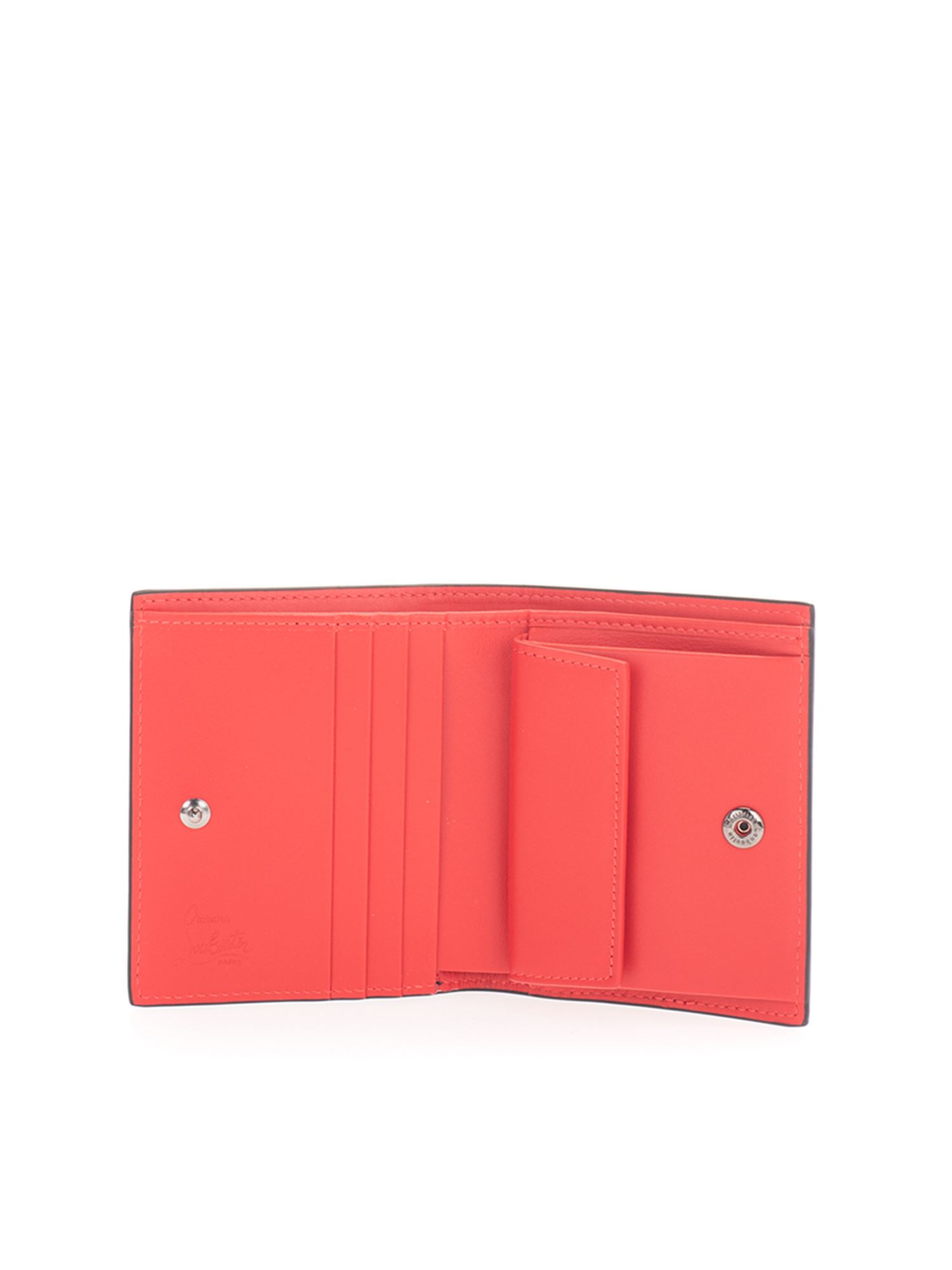 Christian Louboutin BRANDED FODING WALLET IN BLACK AND RED