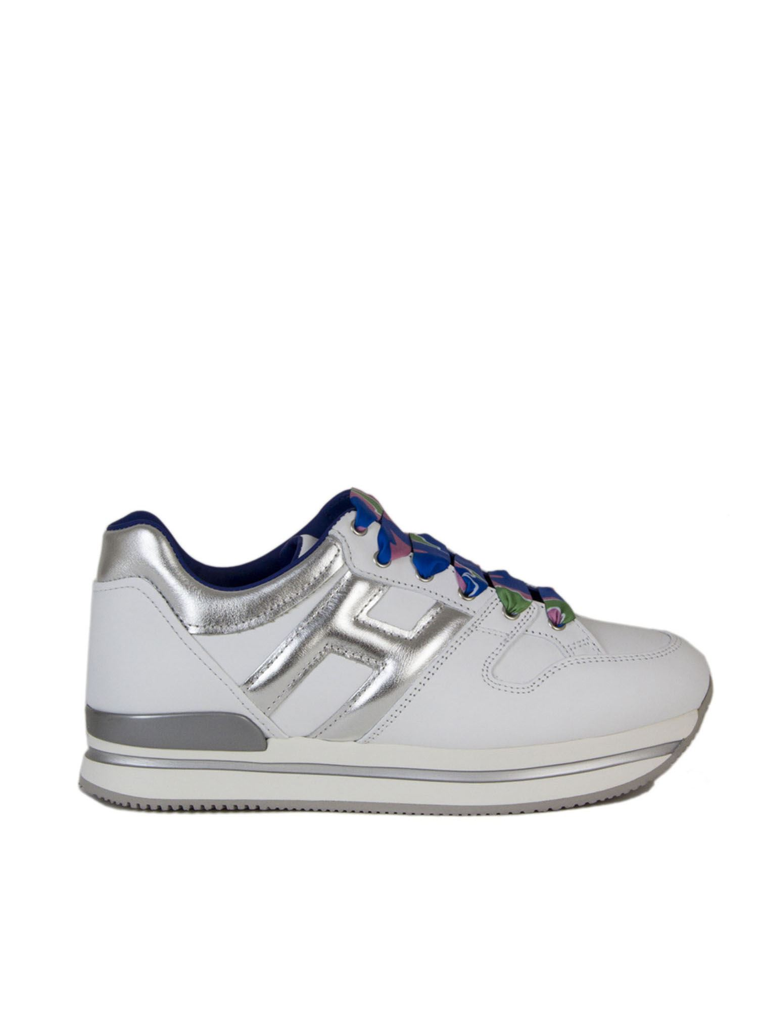 Hogan H222 SNEAKERS IN WHITE AND SILVER