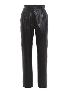 Dolce & Gabbana - Leather carrot fit trousers in black