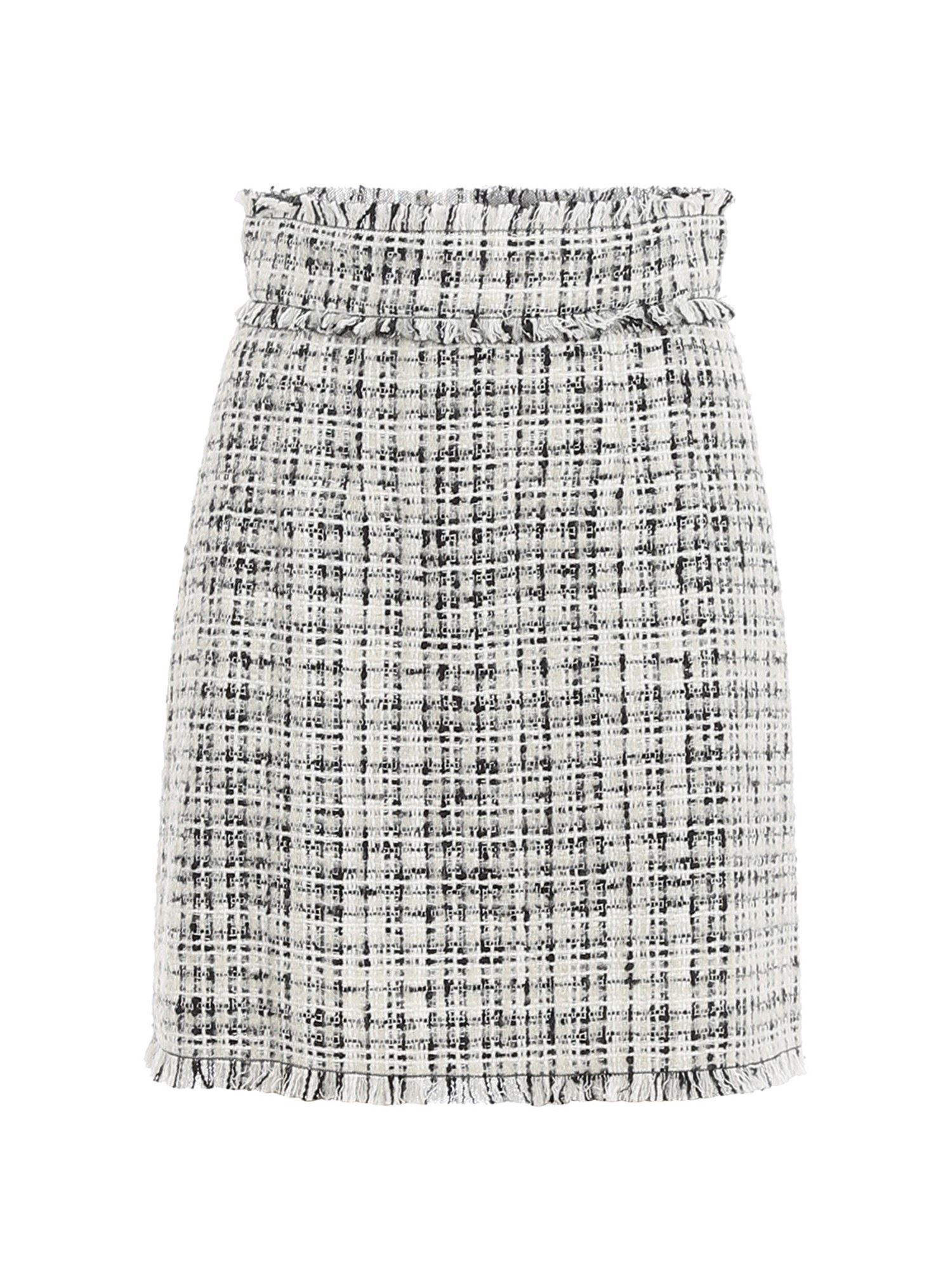 Dolce & Gabbana Cottons TWEED COTTON BLEND MINISKIRT IN WHITE AND BLACK