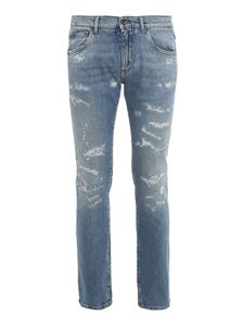 Dolce & Gabbana - Stretch-cotton ripped skinny jeans in light blue