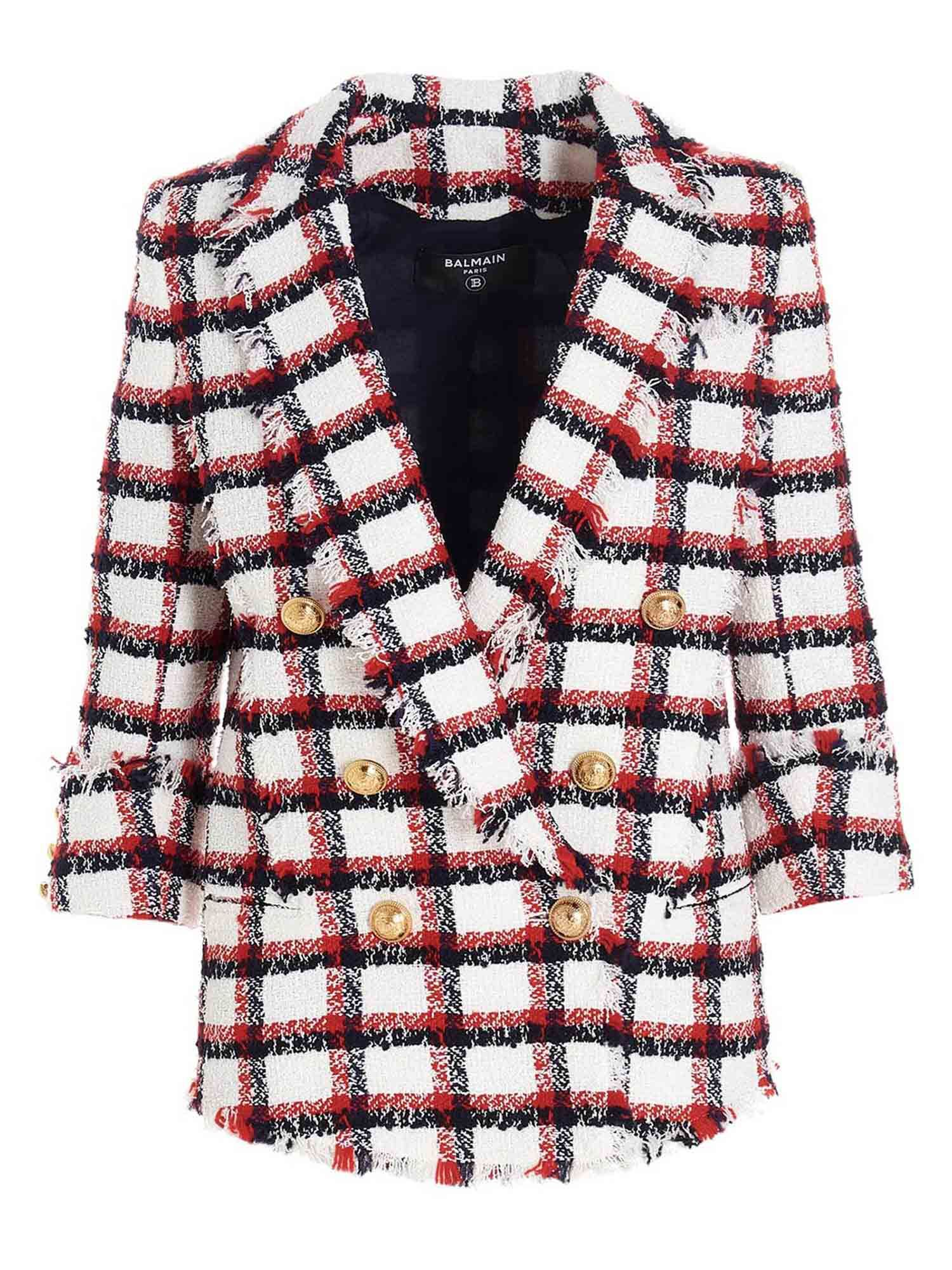 Balmain TWEED BLAZER IN WHITE AND RED