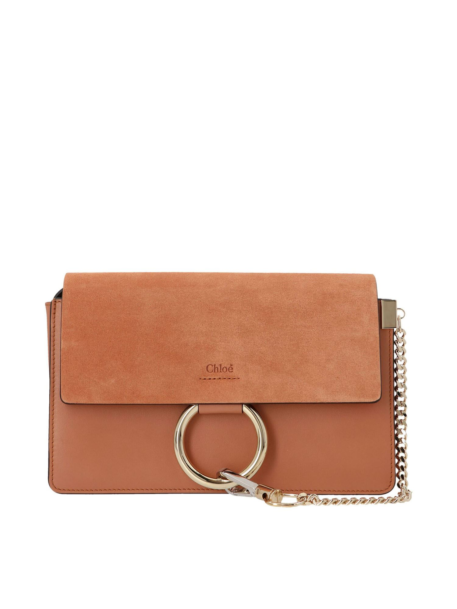 Chloé FAYE SMALL SHOULDER BAG IN MUTED BROWN