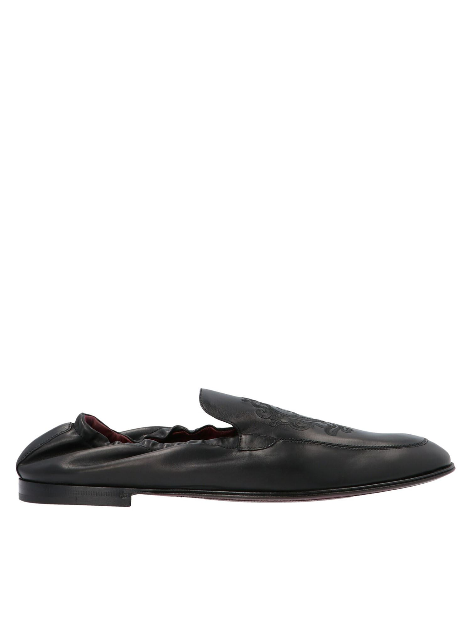 Dolce & Gabbana Leathers BLAZON EMBROIDERY LOAFERS IN BLACK