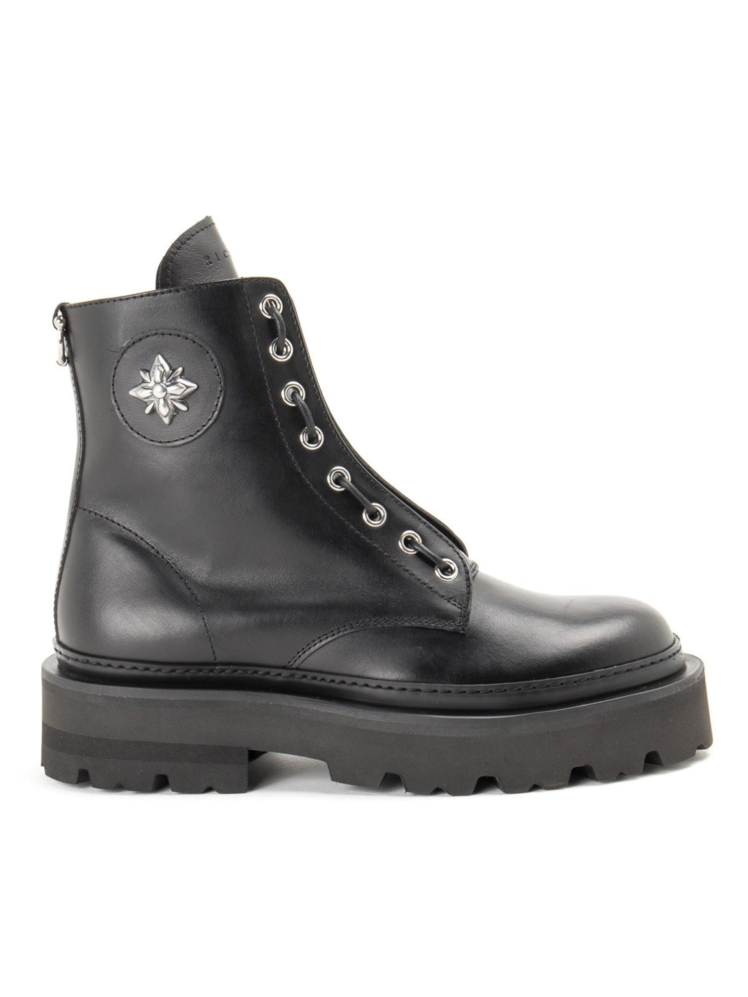 John Richmond Boots BLACK LEATHER ANKLE BOOTS