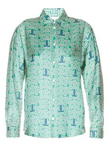 Lanvin - Printed green silk shirt
