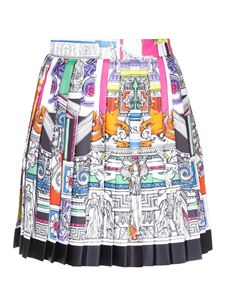 Versace - Silk pleated mini skirt in white and multicolor