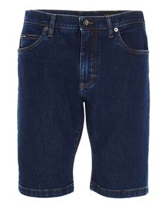 Dolce & Gabbana - Logo patch shorts jeans in blue