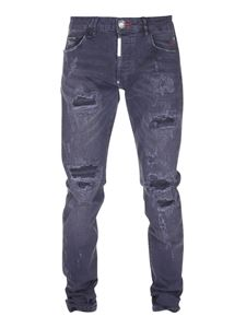 Philipp Plein - Distressed effect black denim jeans