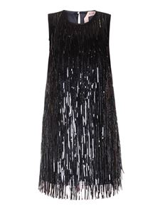 N° 21 - Fringed silk dress in black
