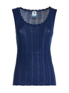 M Missoni - Wool viscose blend top in blue