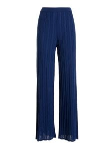M Missoni - Wool-viscose blend palazzo trousers in blue