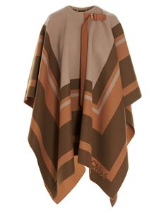 Chloé - Branded beige and brown cape