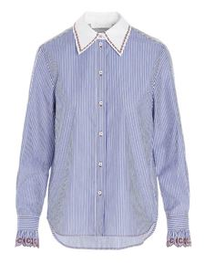 Chloé - Blue striped shirt with embroidered collar