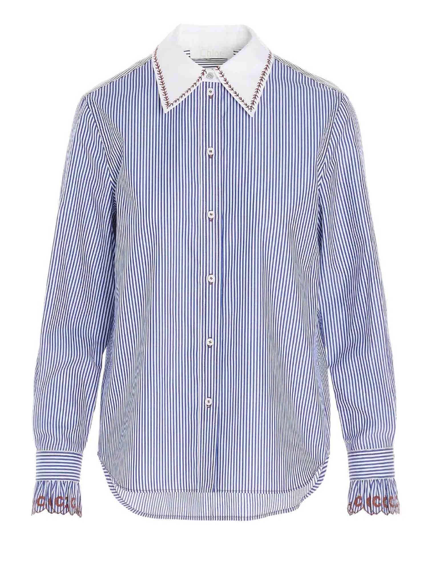 Chloé Cottons BLUE STRIPED SHIRT WITH EMBROIDERED COLLAR