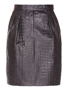 Max Mara - Manila leather skirt in black