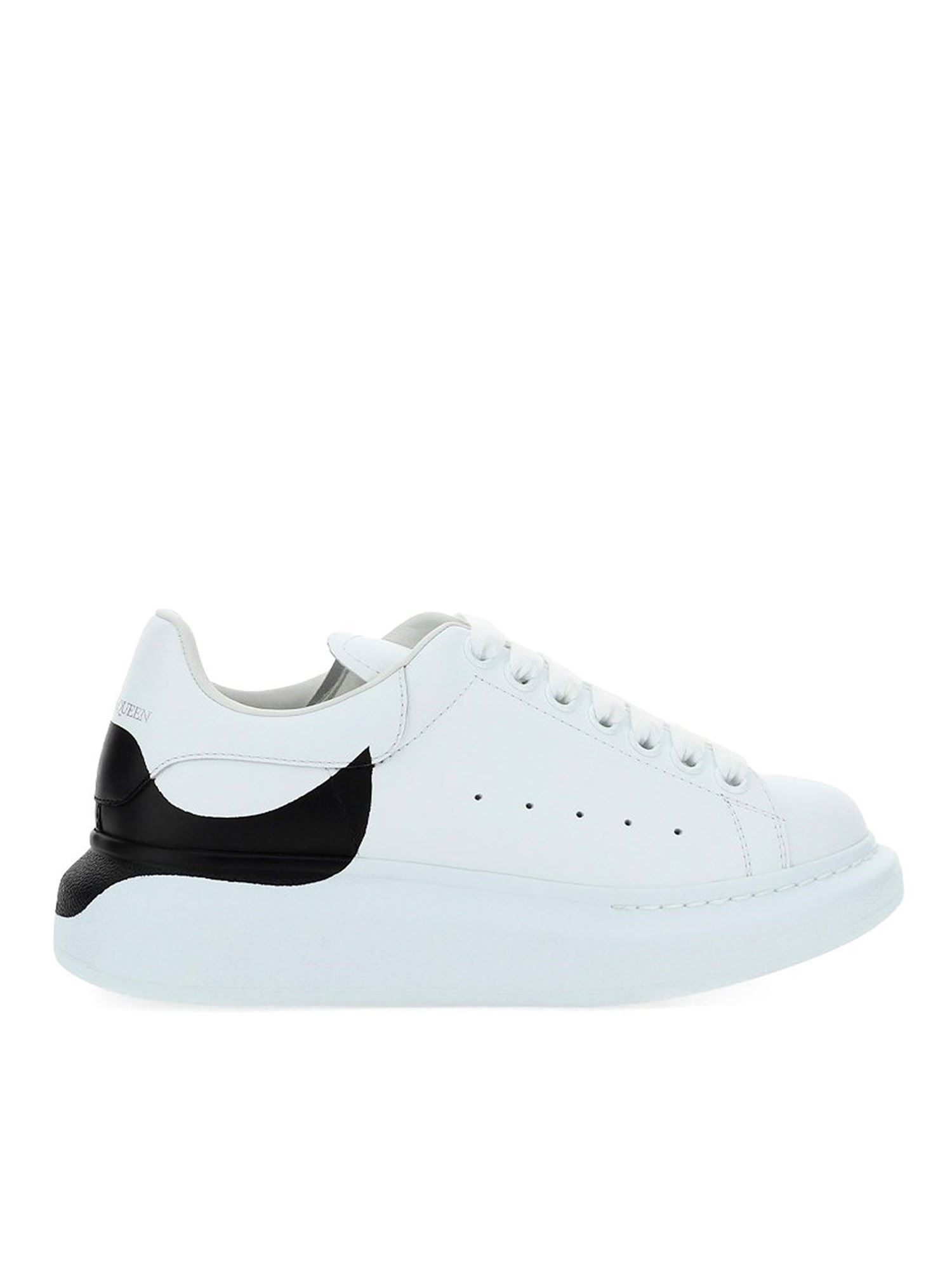 Alexander Mcqueen ALEXANDER MCQUEEN OVERSIZE LEATHER SNEAKERS IN WHITE