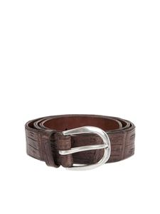 Orciani - Croco print leather belt in brown