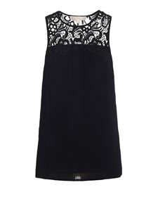 Michael Kors - See-through lace pleated tank top in black